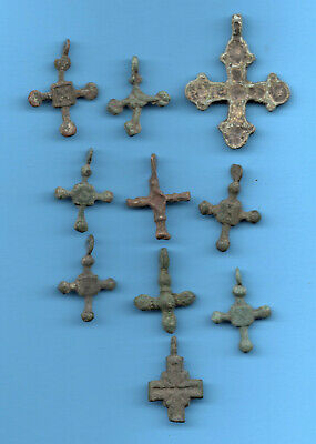 LOT OF 10 Ancient Viking Enamel Bronze Cross Kiev Russia ca 1100 Byzantine 25
