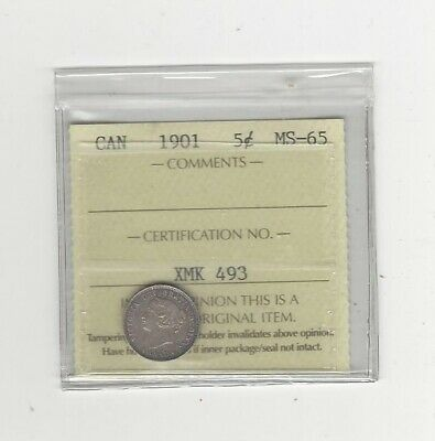 1901  ICCS Graded Canadian,  5 Cent, **MS-65**