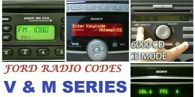 Radio Code  Supplied For Ford V & M Serial Number Cd  Focus Mondeo Fiesta Ka +