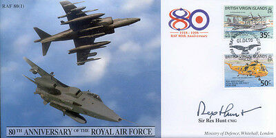 CC41 Harrier & Jaguar RAF FDC cover signed Sir Rex Hunt Falklands Governor