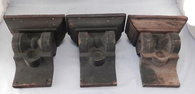 Set 3 Antique Solid Wood Fireplace Mantel Corbels~Brackets~Architectural Salvage