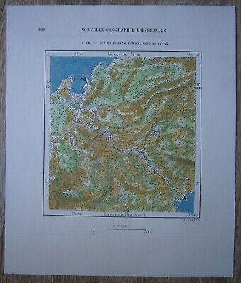 1891 Perron map CONSTRUCTION SITE OF PANAMA INTEROCEANIC CANAL (#125)