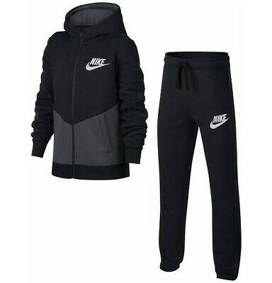 Nike Boys Tracksuit BF Core Sportswear Black/Grey Full Set 10-12_12-13 Yrs