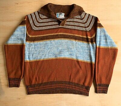 Vintage Pelham Brand Men's Pullover Striped Sweater 70's 80's Size Large L