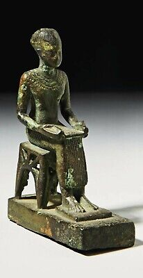 An Egyptian Bronze Seated Imhotep. Late Period, Circa 664-332 B.c.