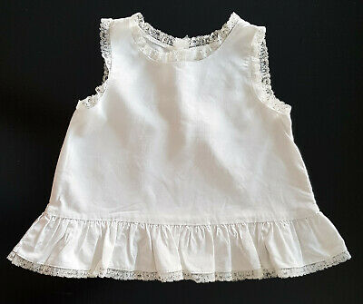 VINTAGE 1950's WHITE BABY/REBORN DOLL PETTICOAT, LACE TRIM, HANDMADE