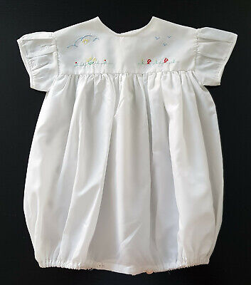 VINTAGE 1960's ~ TERYLENE BABY ROMPER, WHITE with EMBROIDERED BODICE