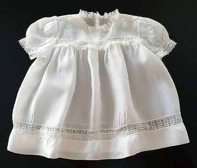 VINTAGE 1950's ~ WHITE BABY DRESS, SHEER SATIN & LACE, EXCELLENT CONDITION