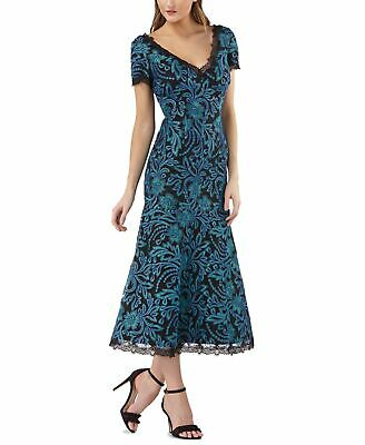 JS Collections Womens  Blue Size 12 Shift Embroidered Lace-Trim V-Neck $298 346