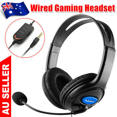 New Wired Gaming Headset Headphones with Microphone for PS4 Mac PC Laptop OZ