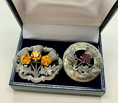2 VINTAGE STERLING SILVER SCOTTISH CITRINE/AMETHYST THISTLE BROOCHES/PINS (WBs)