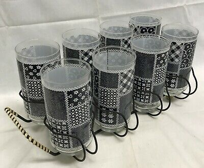 Libbey Black White Gingham Patchwork Tumbler Glass Set with Wire Caddy RARE