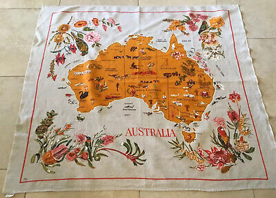 Vintage Souvenir Tablecloth, Australia, Linen/Cotton, Australia Map, Flowers