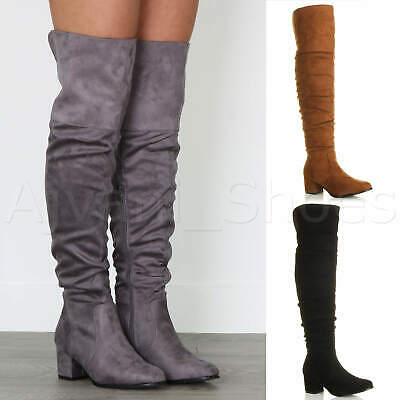 Womens Ladies Low Mid Block Heel Thigh High Zip Ruched Over The Knee Boots Size