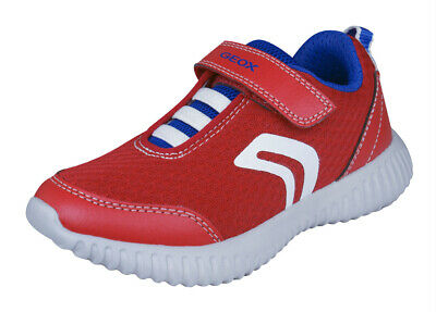 Geox Boys Trainers J Waviness B.A Casual Comfortable Shoes Red World Shipping
