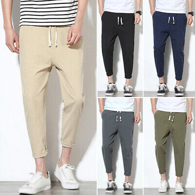 Men Fashion Trousers High Waist Slim Fit Solid Colors Ankle Banded Boys Pants