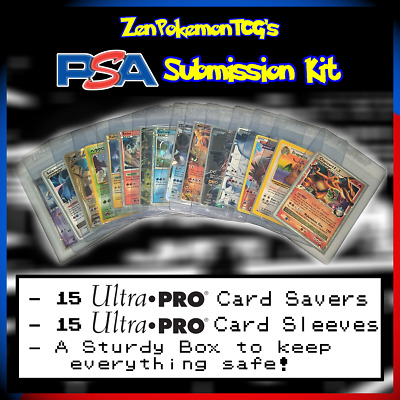 PSA/BGS Submission Kit for Pokémon TCG, MTG (includes CARD SAVERS, BOX, SLEEVES)