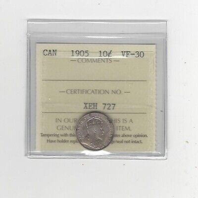 1905 ICCS Graded Canadian,  10  Cent, **VF-30**