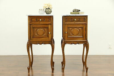 Pair of Country French Antique Carved Oak Nightstands, Marble Tops #32185