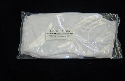 6 Pairs  White Cotton Inspection Glove New