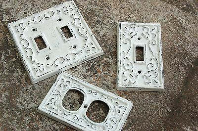 Painted Light Switch Plate Covers Electrical Outlet Cover Shabby Chic White