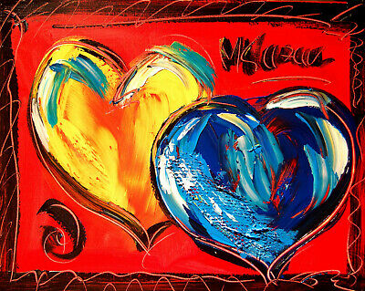 HEARTS  Abstract Oil Painting GUITAR Original Canvas SIGNED BY KAZAV CANADA