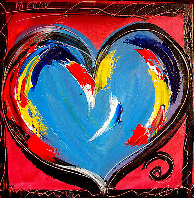 BLUE HEART Abstract Oil Painting GUITAR Original Canvas SIGNED BY KAZAV CANADA