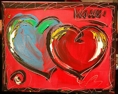 BLUE RED HEART Abstract Oil Painting   Original Canvas SIGNED BY KAZAV CANADA