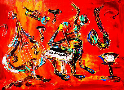 JAZZ HOT Abstract Oil Painting   Original Canvas SIGNED BY KAZAV CANADA