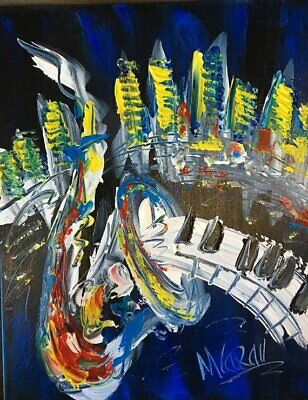 JAZZ HOT PIANO Abstract Oil Painting   Original Canvas SIGNED BY KAZAV CANADA