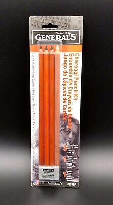 General/'s Charcoal Drawing Set Set of 4 Pencils and 1 Eraser White//Black