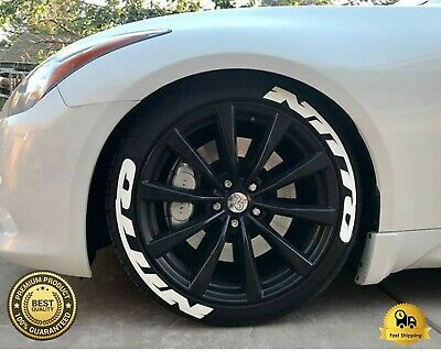 """PERMANENT Tire Lettering NITTO Stickers Wheel 14""""-24"""" TYRE Decal 8x Pack 1.25"""""""