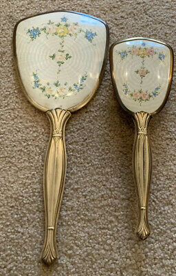 Vintage Gold Brass Lady's Hand Mirror Brush Vanity Set Pink Blue Flowers