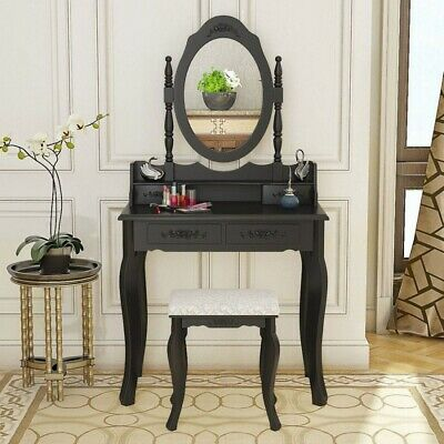 4 Drawers Makeup Dresser Dressing Table w/Oval Mirror Stool Bedroom Furniture UK