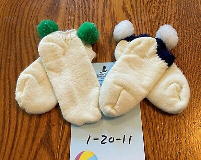 NOS 2 Pr Vtg 80s Kids Unmarked White Cotton Terry Lined Footie Socks Pom Poms