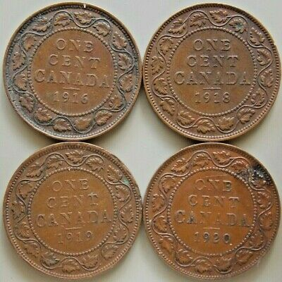 1916 1918 1919 1920  Canada Canadian Large 1 Cent George V  Coins - Lot Of 4