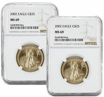 Lot of 2 - 2002 $25 1/2oz American Gold Eagle MS69 NGC Brown