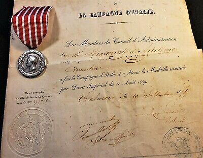 Napoleon Iii Commemorative Silver Medal Of The 1859 Italian Campaign And Diploma