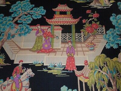 Vintage Chinoiserie Scenic Figural Pagoda Floral Barkcloth Fabric ~ Black Coral
