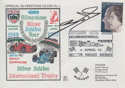 Eric van de Poele Hand Signed Silverstone Silver Jubilee Year First Day Cover.