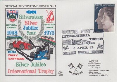 Derek Bell Hand Signed Silverstone Silver Jubilee Year First Day Cover.