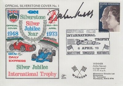 Jochen Mass Hand Signed Silverstone Silver Jubilee Year First Day Cover.