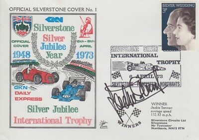 Jackie Stewart Hand Signed Silverstone Silver Jubilee Year First Day Cover 1.