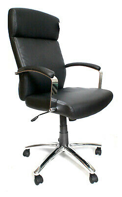 Akris Black Bonded Leather Executive Computer Office Chair BUILT Graded 95%