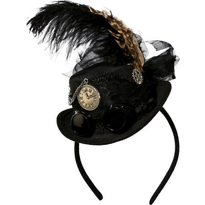 Steampunk Mini Hat with Feather Chic Gothic Headdress Women's Hair Accessories