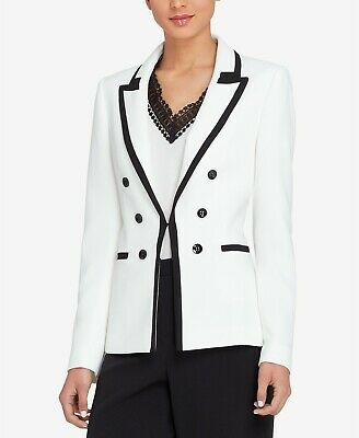 Tahari By ASL Womens Blazer White Size 2 Double Breasted Peaked Lapel $139 541