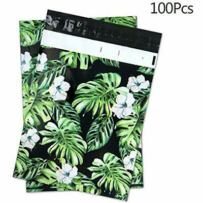 10&quot X Envelope Mailers 13&quot (100 Pack) Tropical Leaves Poly Envelope, -