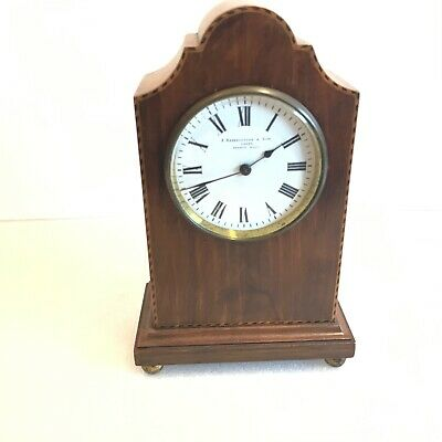 Edwardian inlaid mahogany cased eight day clock