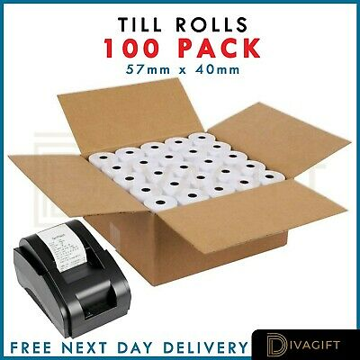 100 Rolls (57x40mm) Till Rolls Thermal Paper Compatible with Credit Card Machine