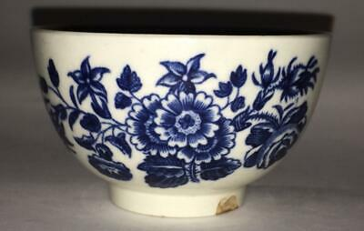 Scarce Georgian Worcester 'Three Flowersl' Tea Bowl from Dr Wall Period C1751+